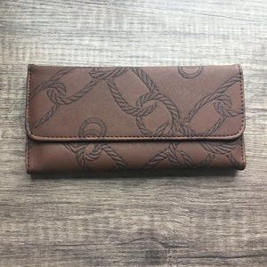 Faux Leather Wallet Embossed Brown